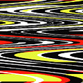 Black Yellow Red White Abstract by Tom Janca