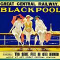 Blackpool, England - Retro Travel Advertising Poster - Three Fashionable Women - Vintage Poster -  by Studio Grafiikka