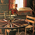Blacksmith Shop Wheel Repair At Old World Wisconsin by Christopher Arndt