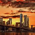 Blazing Manhattan Skyline by Az Jackson