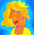 Blond Girl In A Yellow Hat Cubism Style by Maciej Mackiewicz