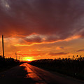 Blood And Gold In The Road Sunset At Portmahon Delaware by David Wolanski
