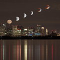Blood Moon Lunar Eclipse Over Boston Massachusetts by Brian MacLean