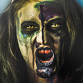 Bloody Zombie Nurse Screaming Out In Insanity by Jorgo Photography - Wall Art Gallery