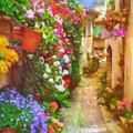 Blooming Houses Spello Italy by Lutz Baar