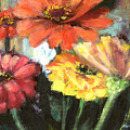 Blooming Zinnias by Marsha Young