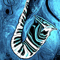 Piano Keys In A Saxophone Blue 2 - Music In Motion by Wayne Cantrell
