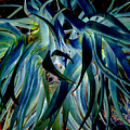 Blue Abstract Art Lorx by Rebecca Margraf