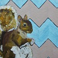 Blue And Beige Chevron Squirrel by Mike Kraus