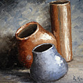 Blue And Brown Pots by Roena King