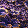 Blue And Gold Fractal Flowers by Garland Johnson
