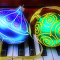 Blue And Green Ornaments by Garry Gay