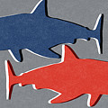 Blue and Red Sharks by Linda Woods