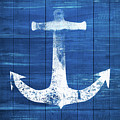 Blue and White Anchor- Art by Linda Woods by Linda Woods