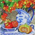 Blue And White Porcelain With Cherries by Sandra McClelland