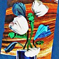 Blue And White Tulips by Sarah Loft