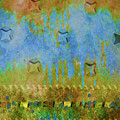 Blue And Yellow Abstract by Karen Beasley