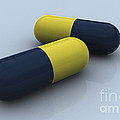 Blue And Yellow Medication Capsules by Stocktrek Images