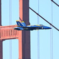 Blue Angels Crossing The Golden Gate Bridge by Wingsdomain Art and Photography