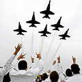 Blue Angels Fly Over The Usna Graduation Ceremony by Celestial Images