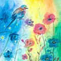 Blue Bird And Flowers by Vickie Wade