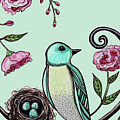 Blue Bird And Peonies by Elizabeth Robinette Tyndall