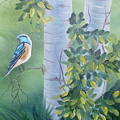 Blue Bird In A Birch  by Tina Brown