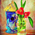 Blue Birdhouse And Red Tulips 2 by Anna Louise