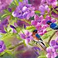 Blue Birds With Azalea by Eileen  Fong