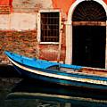 Blue Boat Venice Italy by Xavier Cardell