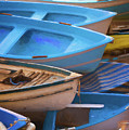Blue Boats Of Cinque Terre Italy by Joan Carroll