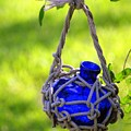 Small Blue Bottle Garden Art by Ginger Wakem