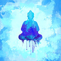 Blue Buddha Watercolor Painting by Thubakabra