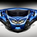 Blue Car 003 by Rafael Salazar