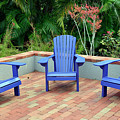 Blue Chair Arrangement At Albin Polasek Museum Gardens by Bruce Gourley