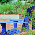Blue Chair In Albin Polasek Museum Gardens by Bruce Gourley