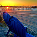 Blue Chairs Pier Sunrise by Joey OConnor