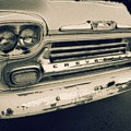 Blue Chevy Truck Grill Bw by Michael Thomas