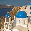 Blue Churches Of Santorini by Jim Chamberlain
