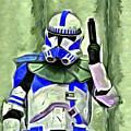 Blue Commander Stormtrooper At Work - Da by Leonardo Digenio