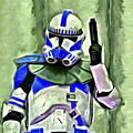 Blue Commander Stormtrooper At Work - Pa by Leonardo Digenio