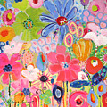 Blue Daisy Flower Garden by Deborah Burow