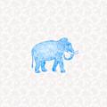 Blue Damask Elephant by Antique Images