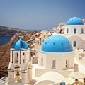 Blue Domed Churches Santorini by Sophie McAulay