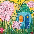 Blue Door Fairy House by Sandy Burch