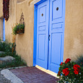 Blue Door Of An Adobe Building Taos New Mexico by George Oze