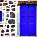 Blue Door Spotted White Building, Santorini, Greece by Global Light Photography - Nicole Leffer