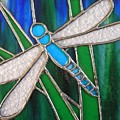 Blue Dragonfly On Reeds With Bluey Green Background by Karen Jane Jones