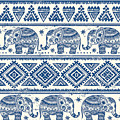 Blue Elephant With Ornaments Design by Long Shot