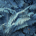 Blue Fern Leaves Abstract. Nature In Alien Skin by Jenny Rainbow